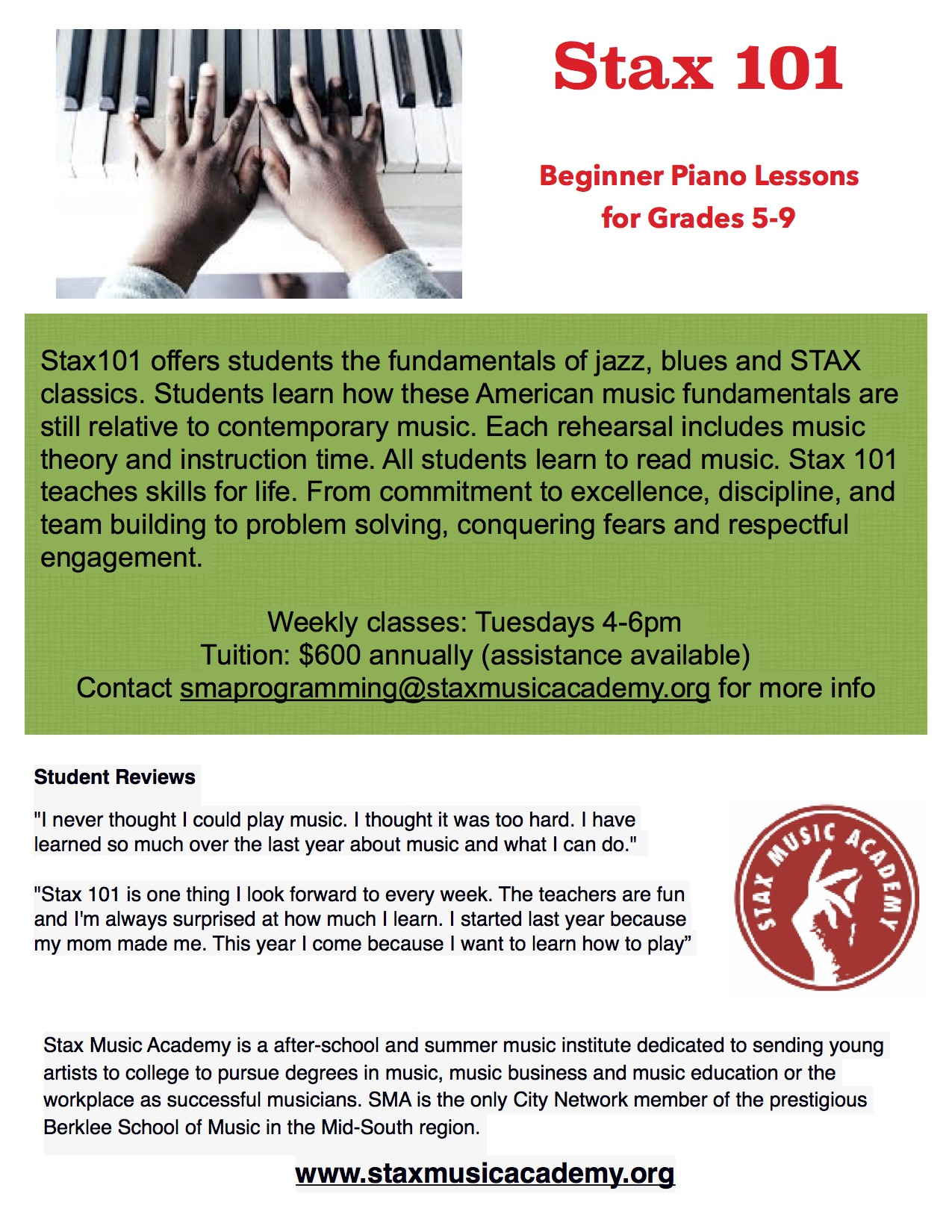 Piano Lessons for Beginners Now Accepting Applications - Stax Music